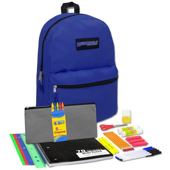 Back Pack & School Supplies Kit- Navy Blue
