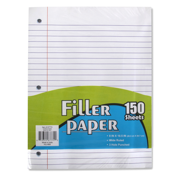 Filler Paper - 150 Sheets Wide Ruled