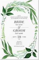 Green Flowered Vertical Flat Wedding Invitation - 6X9